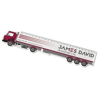 Picture of LARRY 24 CM LORRY SHAPE PLASTIC RULER in White Solid