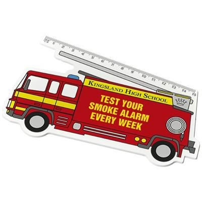 Picture of WALKER 15 CM FIRE-ENGINE-SHAPED PLASTIC RULER in White Solid