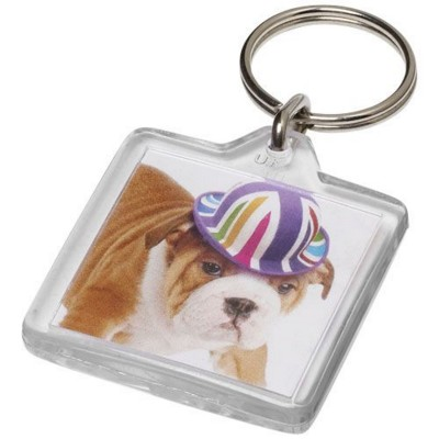 Picture of VIAL U1 SQUARE KEYRING CHAIN in Transparent Clear Transparent