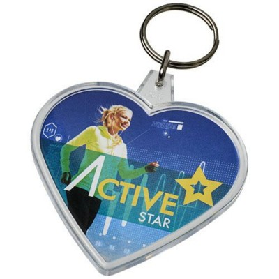 Picture of COMBO HEART-SHAPED KEYRING CHAIN in Transparent Clear Transparent