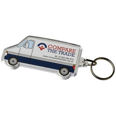 Picture of COMBO VAN-SHAPED KEYRING CHAIN in Transparent Clear Transparent