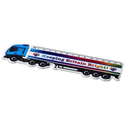Picture of LOKI 15 CM LORRY-SHAPED PLASTIC RULER in White Solid