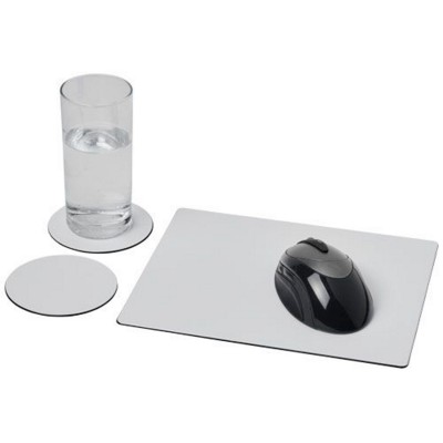 Picture of BRITE-MAT® MOUSEMAT AND COASTER SET COMBO 2 in Black Solid