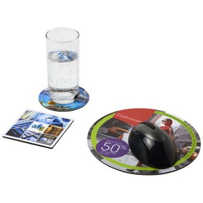 Picture of Q-MAT® MOUSEMAT AND COASTER SET COMBO 4 in Black Solid