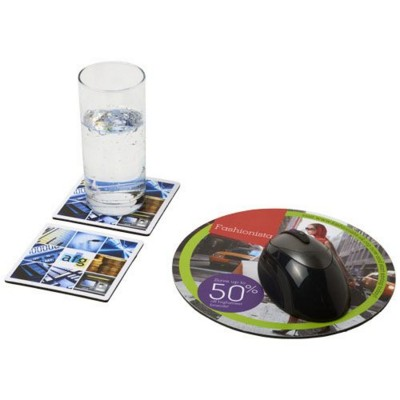 Picture of Q-MAT® MOUSEMAT AND COASTER SET COMBO 6 in Black Solid
