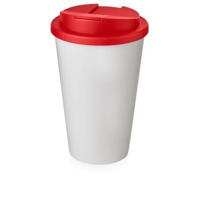 Picture of AMERICANO® 350 ML TUMBLER with Spill-proof Lid in White Solid & Red