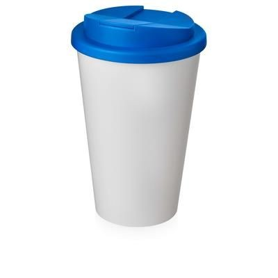 Picture of AMERICANO® 350 ML TUMBLER with Spill-proof Lid in White Solid & Mid Blue