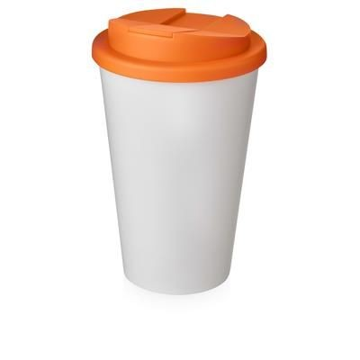 Picture of AMERICANO® 350 ML TUMBLER with Spill-proof Lid in White Solid & Orange
