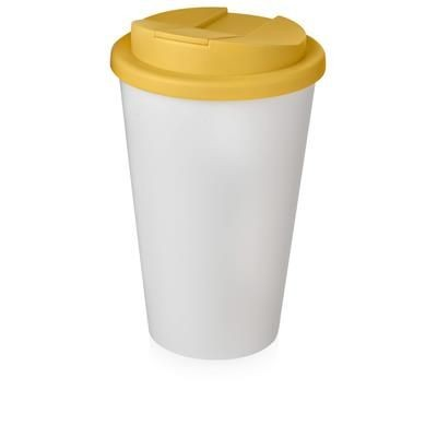 Picture of AMERICANO® 350 ML TUMBLER with Spill-proof Lid in White Solid & Yellow