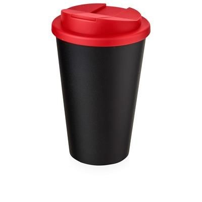 Picture of AMERICANO® 350 ML TUMBLER with Spill-proof Lid in Black Solid & Red