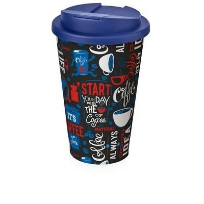 Picture of BRITE-AMERICANO® 350 ML TUMBLER with Spill-proof Lid in White Solid & Blue