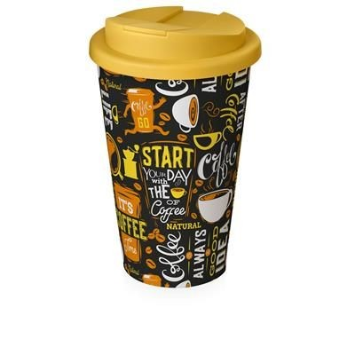 Picture of BRITE-AMERICANO® 350 ML TUMBLER with Spill-proof Lid in White Solid & Yellow