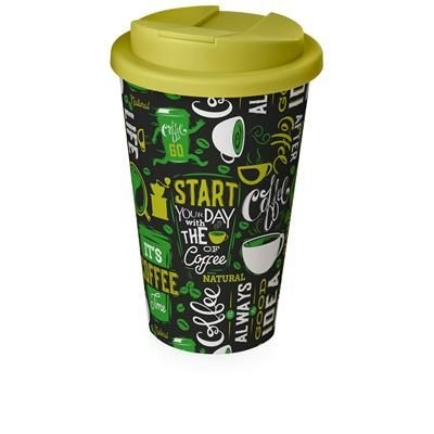 Picture of BRITE-AMERICANO® 350 ML TUMBLER with Spill-proof Lid in White Solid & Lime