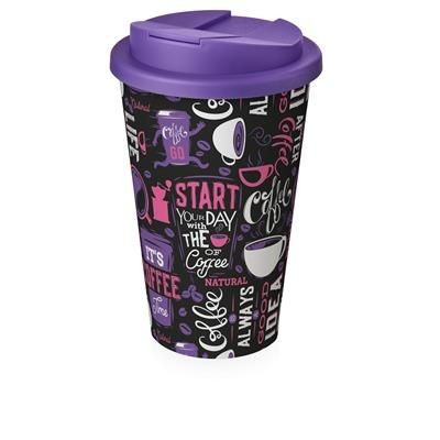 Picture of BRITE-AMERICANO® 350 ML TUMBLER with Spill-proof Lid in White Solid & Purple