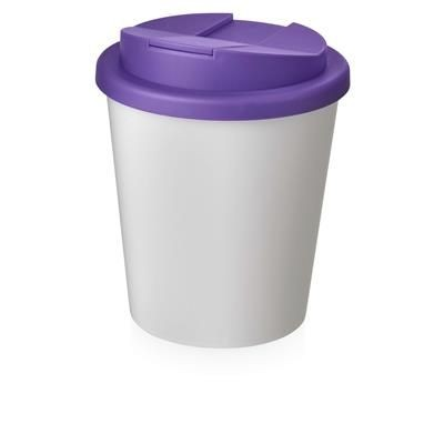 Picture of AMERICANO ESPRESSO® 250 ML TUMBLER with Spill-proof Lid in White Solid & Purple