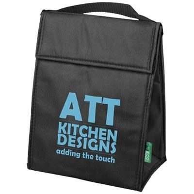 Picture of TRIANGULAR NON-WOVEN LUNCH COOL BAG in Black Solid