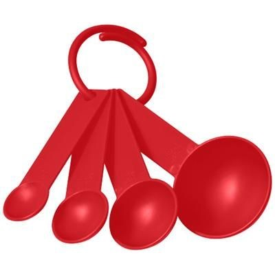 Picture of NESS PLASTIC MEASURING SPOON SET with 4 Sizes in Red