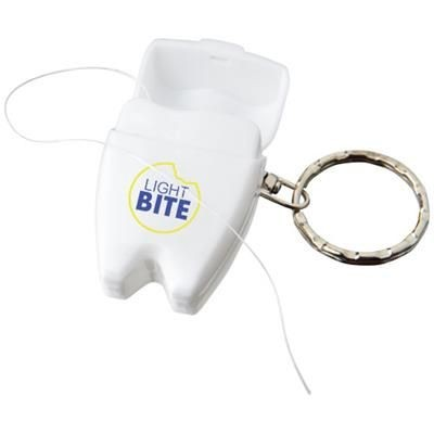 Picture of DEMI DENTAL FLOSS KEYRING CHAIN in White Solid
