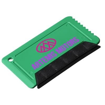 Picture of FREEZE CREDIT CARD SIZED ICE SCRAPER with Rubber in Green