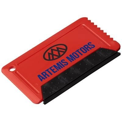 Picture of FREEZE CREDIT CARD SIZED ICE SCRAPER with Rubber in Red