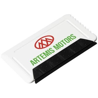 Picture of FREEZE CREDIT CARD SIZED ICE SCRAPER with Rubber in White Solid