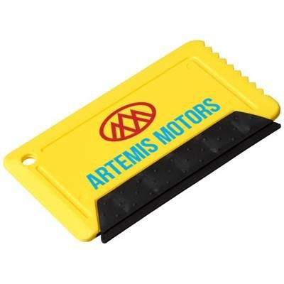 Picture of FREEZE CREDIT CARD SIZED ICE SCRAPER with Rubber in Yellow