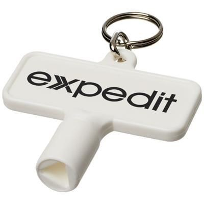 Picture of MAXIMILIAN RECTANGULAR UTILITY KEY KEYCHAIN  in White Solid