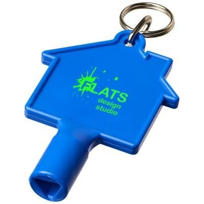 Picture of MAXIMILIAN HOUSE-SHAPED METERBOX KEY with Keyring Chain in Blue