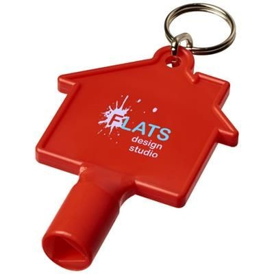 Picture of MAXIMILIAN HOUSE-SHAPED METERBOX KEY with Keyring Chain in Red