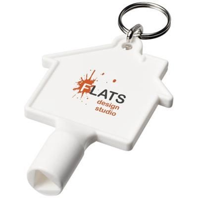 Picture of MAXIMILIAN HOUSE-SHAPED METERBOX KEY with Keyring Chain in White Solid