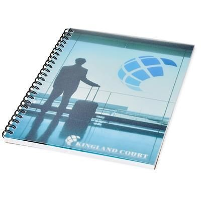 Picture of DESK-MATE® WIRE-O A5 NOTE BOOK PP COVER in White Solid-black Solid