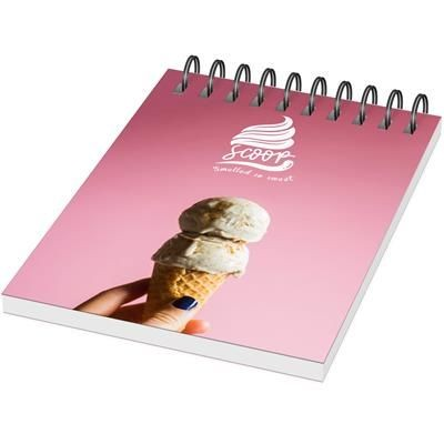 Picture of DESK-MATE® WIRE-O A7 NOTE BOOK PP COVER in White Solid-black Solid