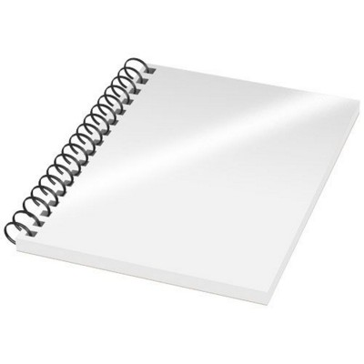 Picture of DESK-MATE® A6 NOTE BOOK SYNTHETIC COVER in White Solid-black Solid