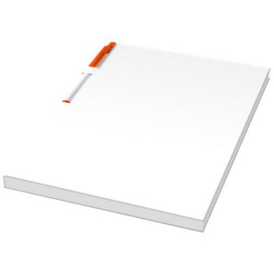 Picture of ESSENTIAL CONFERENCE PACK A5 NOTE PAD AND PEN in White Solid-orange