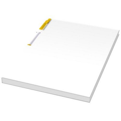 Picture of ESSENTIAL CONFERENCE PACK A5 NOTE PAD AND PEN in White Solid-yellow