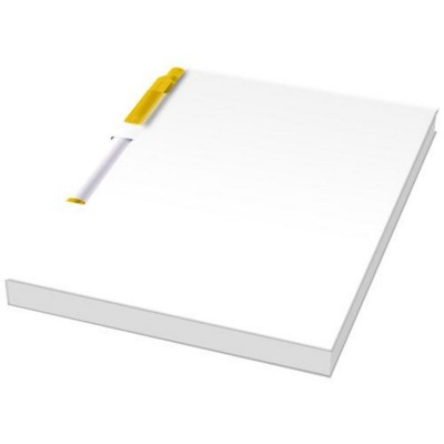 Picture of ESSENTIAL CONFERENCE PACK A6 NOTE PAD AND PEN in White Solid-yellow