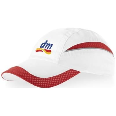 Picture of QUALIFIER 6 PANEL MESH CAP in White Solid-red