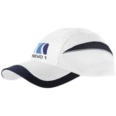 Picture of QUALIFIER 6 PANEL MESH CAP in White Solid-navy