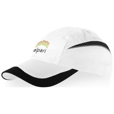 Picture of QUALIFIER 6 PANEL MESH CAP in White Solid-black Solid