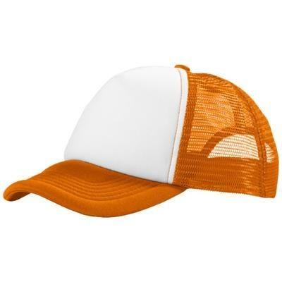 Picture of TRUCKER 5 PANEL CAP in Orange & White Solid
