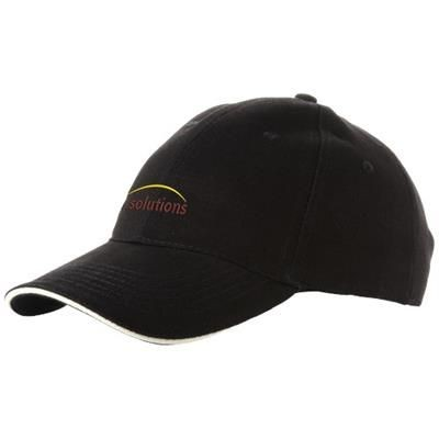 Picture of CHALLENGE 6 PANEL SANDWICH CAP in Black Solid