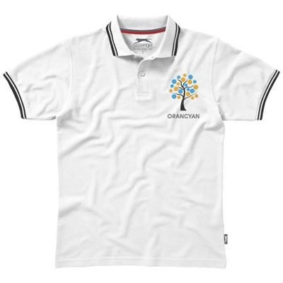 Picture of DEUCE SHORT SLEEVE MENS POLO with Tipping in White Solid