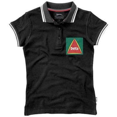 Picture of DEUCE SHORT SLEEVE LADIES POLO with Tipping in Black Solid