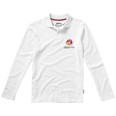 Picture of POINT LONG SLEEVE POLO in White Solid