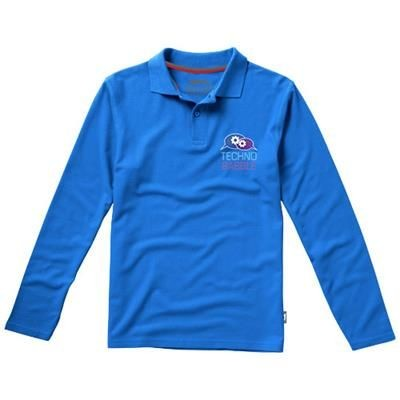 Picture of POINT LONG SLEEVE POLO in Light Blue
