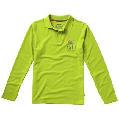 Picture of POINT LONG SLEEVE POLO in Apple Green