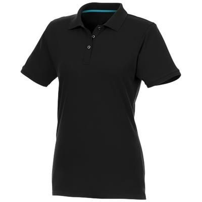 Picture of BERYL SHORT SLEEVE LADIES ORGANIC RECYCLED POLO in Black Solid