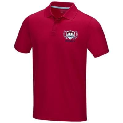 Picture of GRAPHITE GREY SHORT SLEEVE MENS GOTS ORGANIC POLO XS in Red