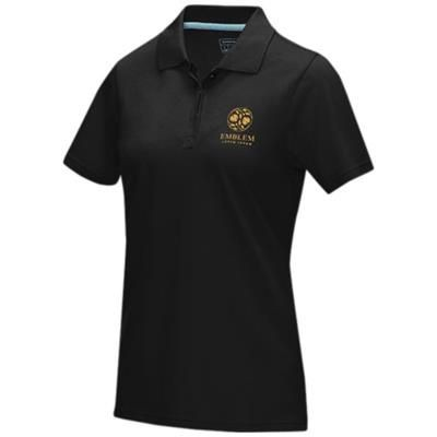 Picture of GRAPHITE GREY SHORT SLEEVE LADIES GOTS ORGANIC POLO XS in Solid Black