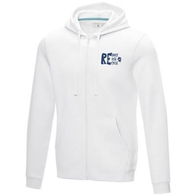 Picture of RUBY MENS GOTS ORGANIC GRS RECYCLED FULL ZIP HOODED HOODY XS in White